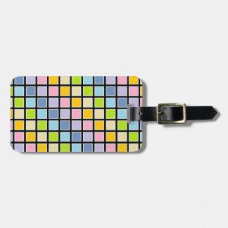 Etiqueta Para Maletas Cuadrados en colores pastel resumidos blanco del