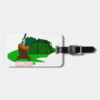 Etiqueta Para Maletas Cuchillo y tienda que acampan