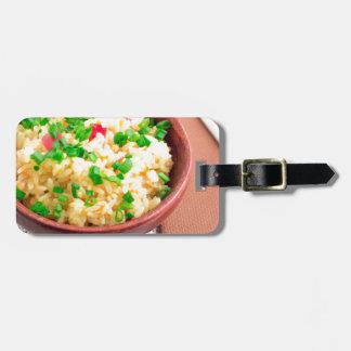 Etiqueta Para Maletas Cuenco de madera de arroz y de puerro cocinados