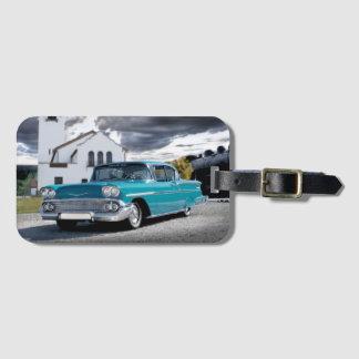Etiqueta Para Maletas Depósito 1958 de tren clásico de coche del Bel Air