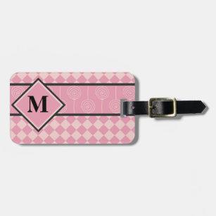 84a90c0a5 Etiqueta Para Maletas Diamantes y Lollipops rosados del monograma