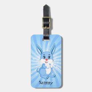 Etiqueta Para Maletas Dibujo animado azul lindo del conejito