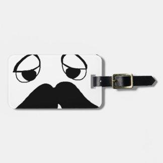 Etiqueta Para Maletas dibujo animado de la cara del mustach