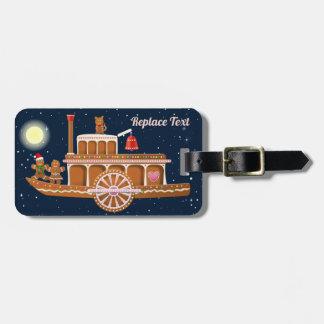Etiqueta Para Maletas Dibujo animado del barco de vapor de Navidad del