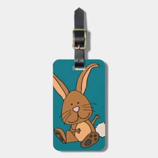 Etiqueta Para Maletas Dibujo animado divertido del conejo de Brown