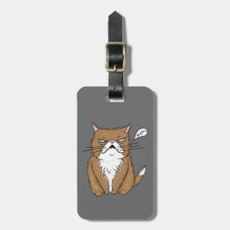Etiqueta Para Maletas Dibujo gruñón divertido del gato de Meh