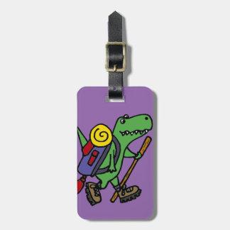 Etiqueta Para Maletas Dinosaurio verde divertido de T-Rex que camina