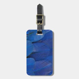 Etiqueta Para Maletas Diseño azul de la pluma del Macaw del jacinto