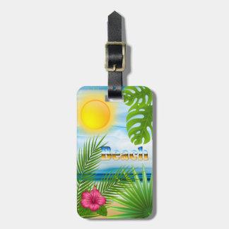 Etiqueta Para Maletas Diseño de la playa de la salida del sol