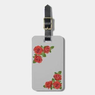Etiqueta Para Maletas Diseño floral de los rosas rojos