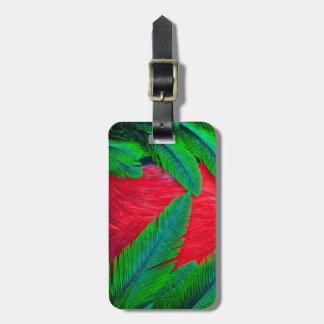 Etiqueta Para Maletas Diseño resplandeciente de la pluma del quetzal