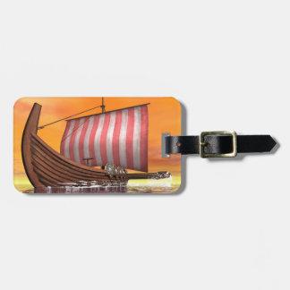 Etiqueta Para Maletas Drakkar o nave de vikingo - 3D rinden