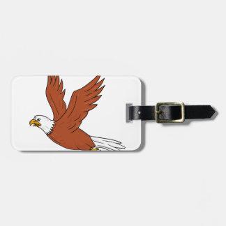 Etiqueta Para Maletas Eagle enojado que vuela el dibujo animado