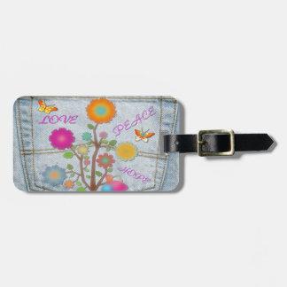 Etiqueta Para Maletas El bolsillo trasero del dril de algodón florece