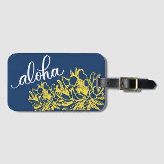 Etiqueta Para Maletas El cirio amarillo azul de la hawaiana florece