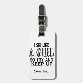 Etiqueta Para Maletas El esquí tiene gusto de un chica