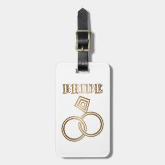 Etiqueta Para Maletas El oro ligado suena el boda de la novia