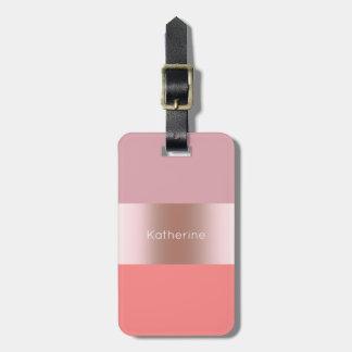 Etiqueta Para Maletas El polluelo moderno elegante subió el coral rosado
