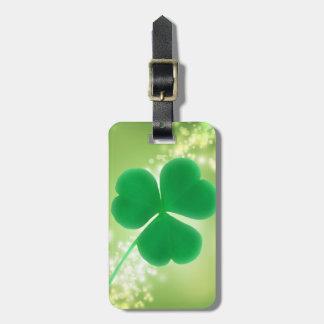 Etiqueta Para Maletas El trébol irlandés verde Bokeh elegante chispea