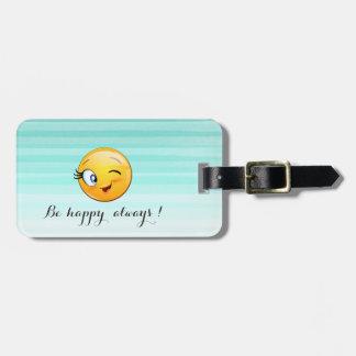 Etiqueta Para Maletas Emoji sonriente de guiño adorable Cara-Es feliz