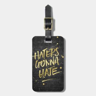 Etiqueta Para Maletas Enemigos que van a odiar la pizarra del Grunge del