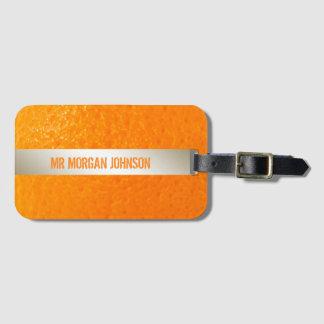 Etiqueta Para Maletas Equipaje anaranjado personalizado del viaje del