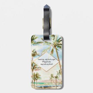 Etiqueta Para Maletas Escena hawaiana de la playa del vintage de