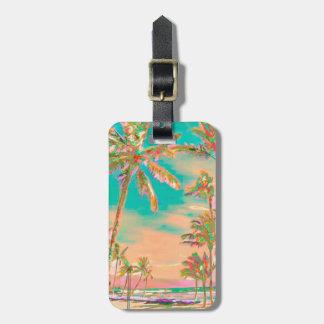 Etiqueta Para Maletas Escena hawaiana/trullo de la playa del vintage de
