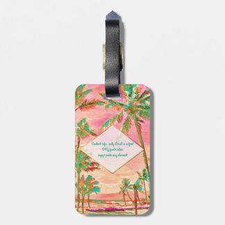 Etiqueta Para Maletas Escena/rosa hawaianos de la playa del vintage de