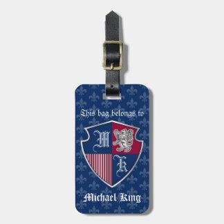 Etiqueta Para Maletas Escudo de plata del emblema del monograma del
