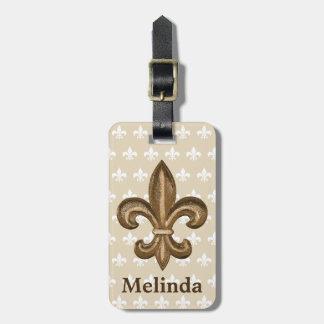 Etiqueta Para Maletas Escudo y nombre franceses de la flor de lis del