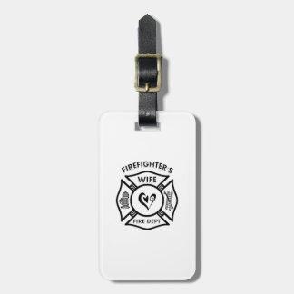 Etiqueta Para Maletas Esposa de los bomberos