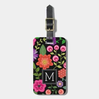Etiqueta Para Maletas Estampado de flores negro de moda con el monograma