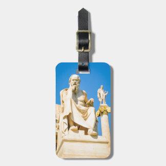 Etiqueta Para Maletas Estatua antigua del filósofo en Atenas, Grecia