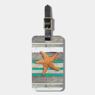 Etiqueta Para Maletas Estrellas de mar y playa resistida de los tablones