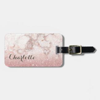 Etiqueta Para Maletas Falso purpurina color de rosa Ombre de mármol