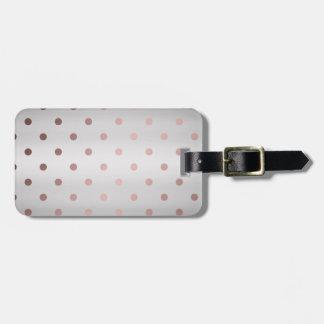 Etiqueta Para Maletas falsos lunares color de rosa elegantes de la plata