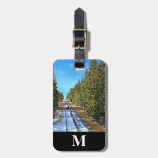 Etiqueta Para Maletas Ferrocarril de la nieve del invierno del viaje del