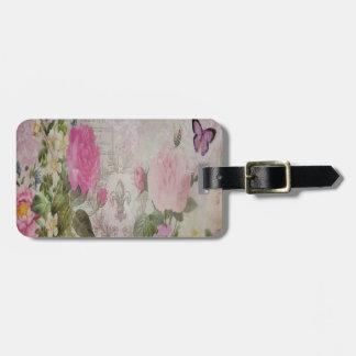 Etiqueta Para Maletas Flor de lis hermosa de la mariposa de los rosas de