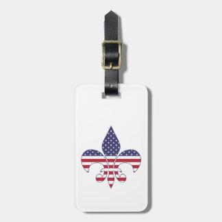Etiqueta Para Maletas Flor de lis patriótica personalizada de la bandera
