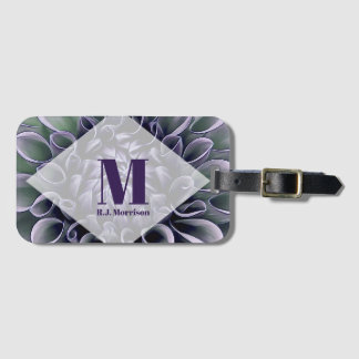 Etiqueta Para Maletas Floración púrpura floral con el monograma y el