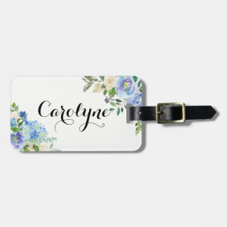 Etiqueta Para Maletas Floral azul de los Hydrangeas de la acuarela