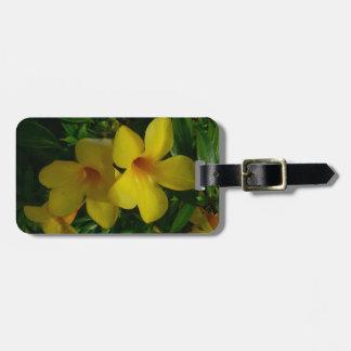 Etiqueta Para Maletas Floral tropical de las flores de trompeta de oro