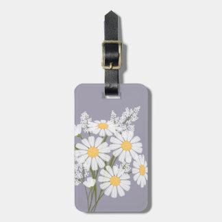 Etiqueta Para Maletas Flores de la margarita blanca en la lavanda