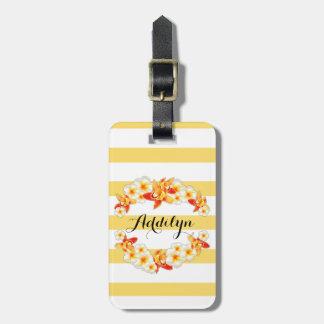 Etiqueta Para Maletas Flores de la orquídea y del Plumeria, elegantes