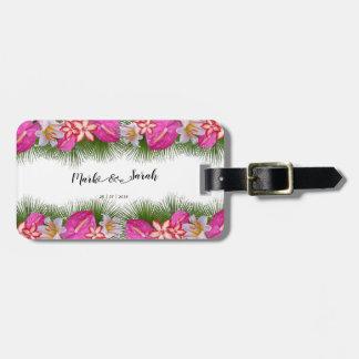 Etiqueta Para Maletas Flores tropicales y caligrafía de las hojas de
