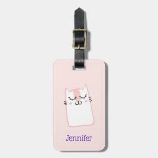 Etiqueta Para Maletas Gato rosado lindo del gatito el dormir