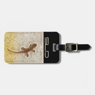 Etiqueta Para Maletas Gecko de oro con sus propias iniciales