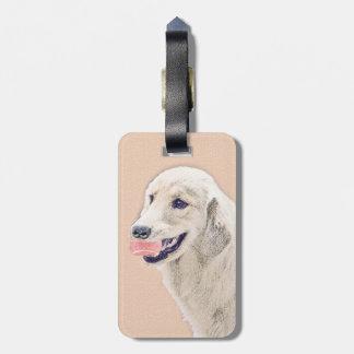 Etiqueta Para Maletas Golden retriever con arte del perro de la pintura