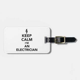 Etiqueta Para Maletas Guarde la calma que soy electricista